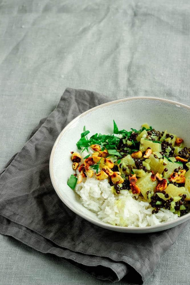 Ananascurry mit Linsen - vegan