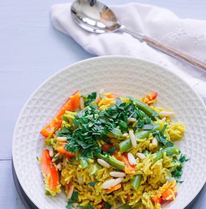One-Pot-Reis mit grünen Bohnen - vegan