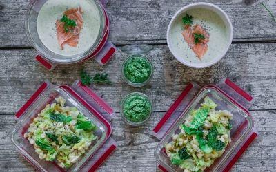 Lunch Prep für 6 Tage – mit Spätzle, Pesto und Wirsingcremesuppe