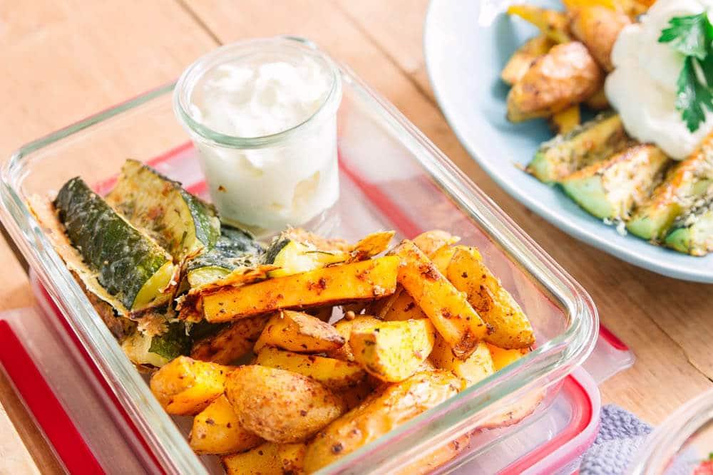 Zucchinipommes als Meal Prep Gericht
