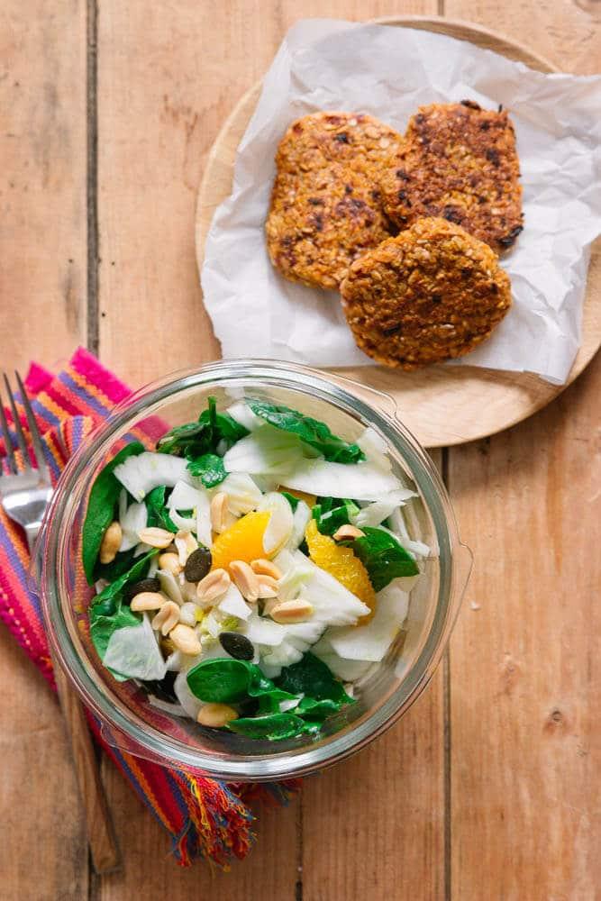 Fenchelsalat und Bratlinge vorkochen für die Woche