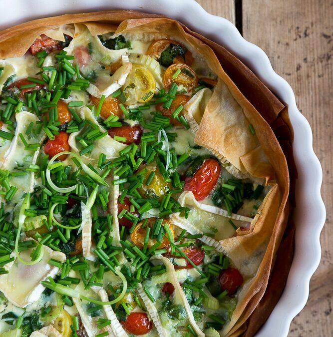 Bärlauch Rezepte: Quiche aus Filoteig mit Tomaten und Camembert