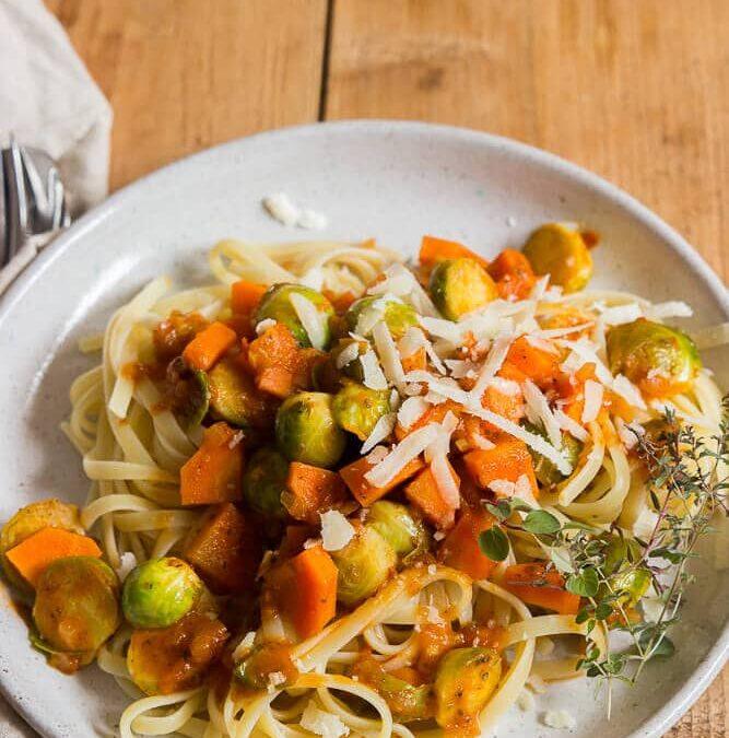 Projekt saisonal kochen: Pasta mit Rosenkohl und Möhren oder eine neue Folge #pastaforingeborg