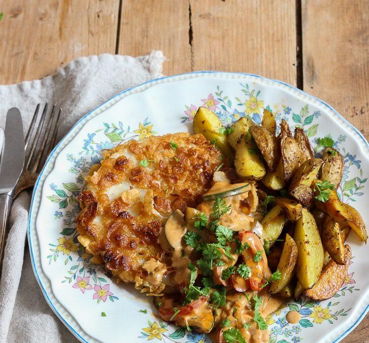Sellerieschnitzel mit veganer Bratensoße und Kartoffelecken oder wie sich Lieblingsessen im Laufe der Jahre wandeln